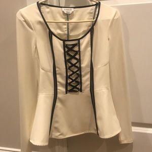 Bebe long sleeve peplum shirt; never worn